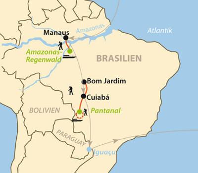Bolivien: Karte und Tourenverlauf Pantanal und Amazonas