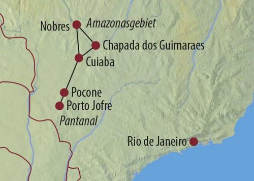 Brasilien: Karte und Tourenverlauf Wandern und Jaguar-Safari im Amazonas/Pantanal