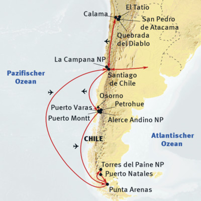 Argentinien: Karte und Tourenverlauf Aktivreise mit Trekking in Patagonien