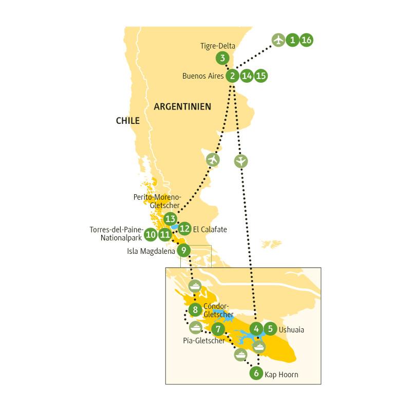 Argentinien: Karte und Tourenverlauf Rundreise Argentinien & Chile