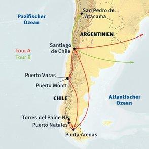 Argentinien: Karte und Tourenverlauf Chile Kurzurlaub