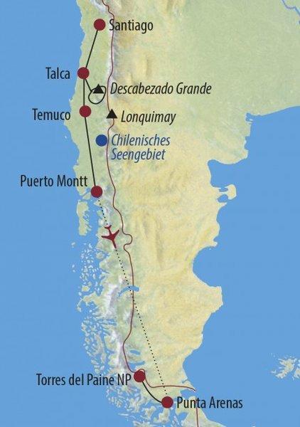 Argentinien: Karte und Tourenverlauf Trekkingreise Patagonien und Zentralanden