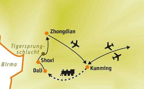 China: Karte und Tourenverlauf Radtouren und Wanderungen in Yunnan