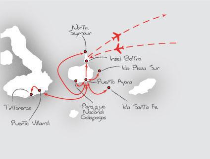 Ecuador: Karte und Tourenverlauf Naturreise zum Tierparadies im Pazifik