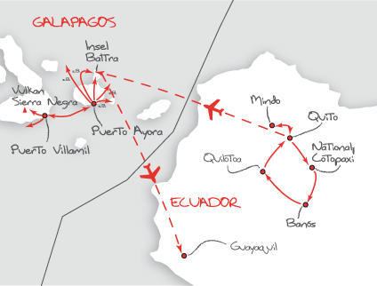 Ecuador: Karte und Tourenverlauf Privatreise Ecuador & Galapagos