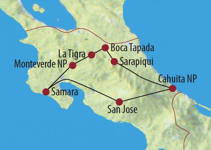 Costa Rica: Karte und Tourenverlauf Karibik, tropischer Regenwald und Pazifik