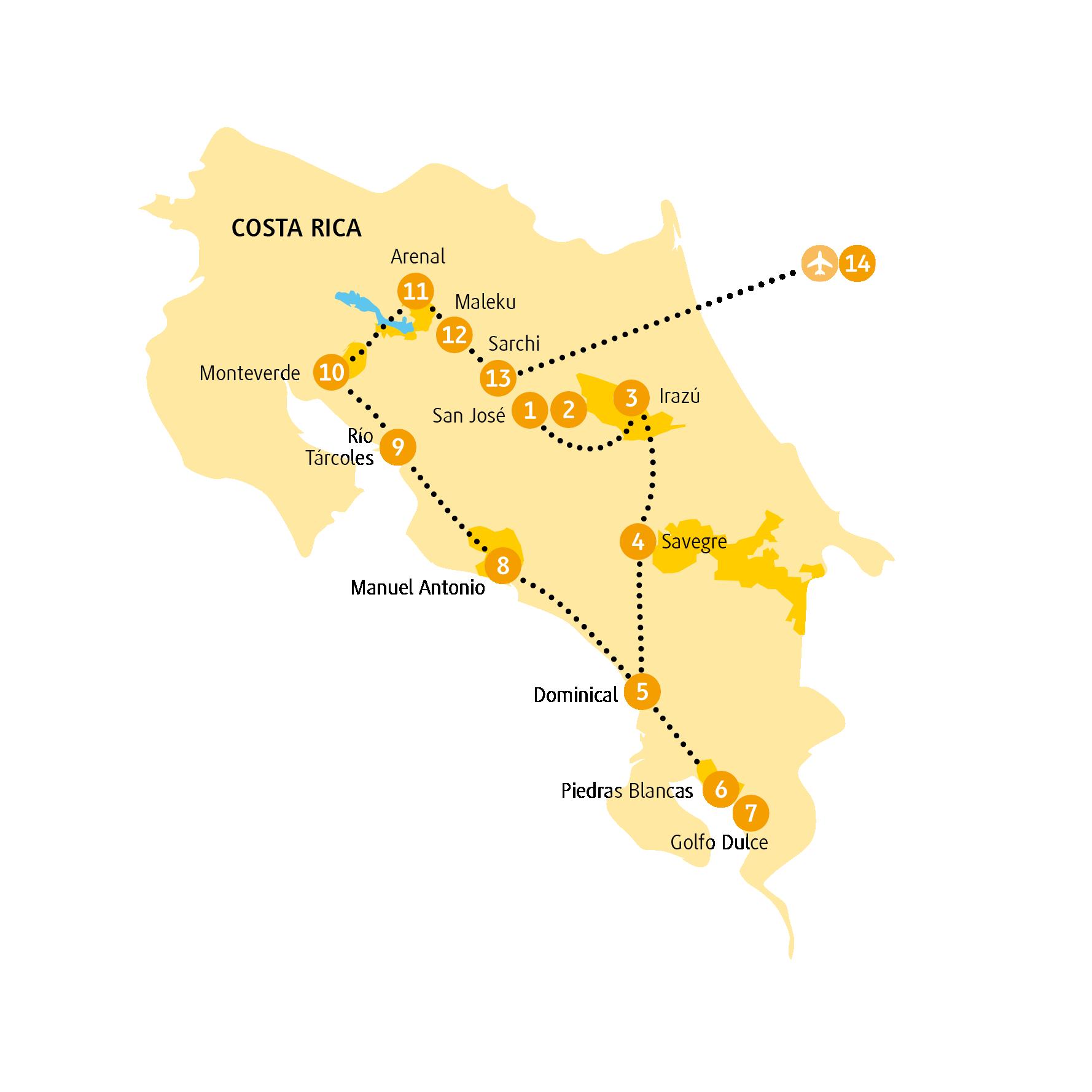 Costa Rica: Karte und Tourenverlauf Monteverde