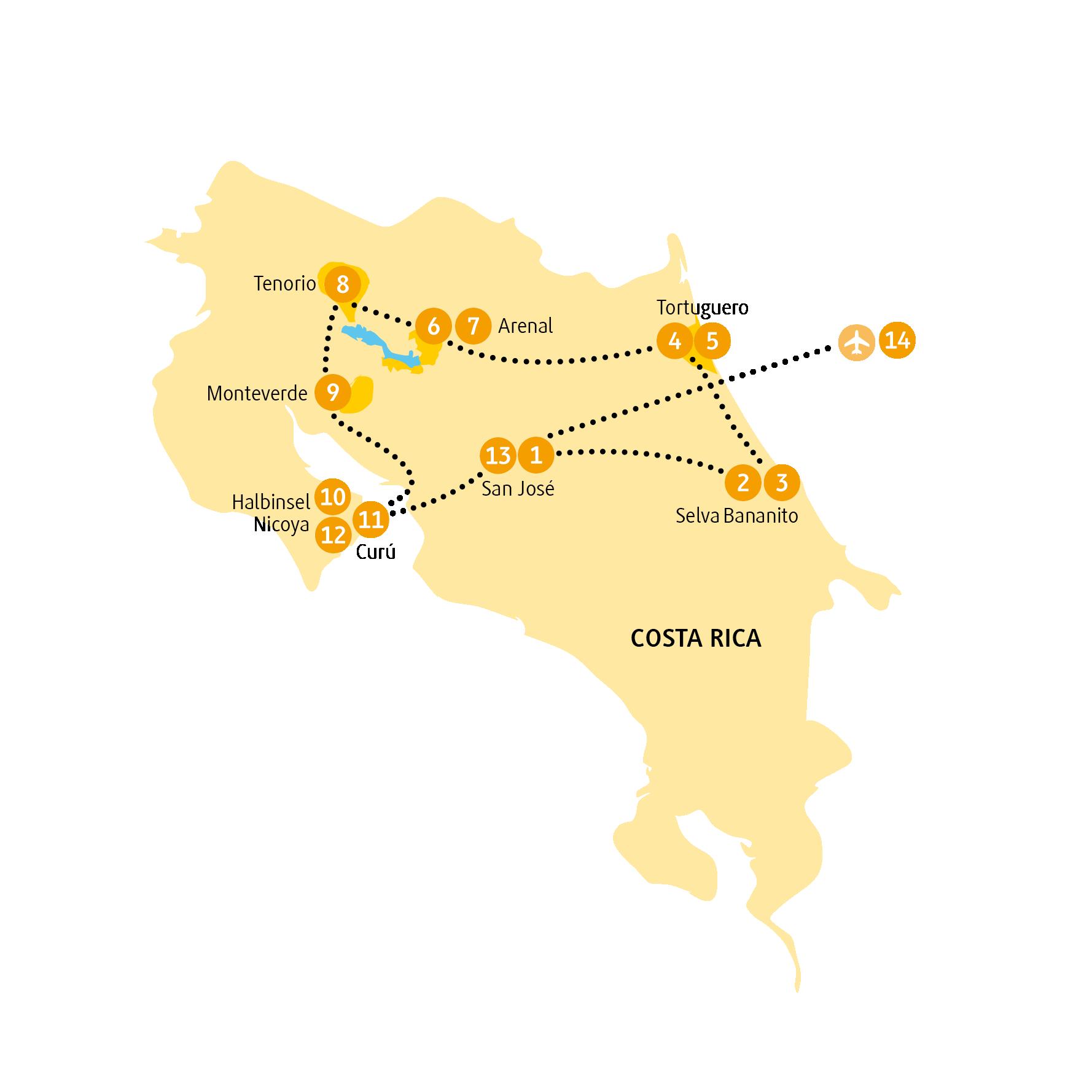 Costa Rica: Karte und Tourenverlauf Naturrundreise – Baden am Pazifik