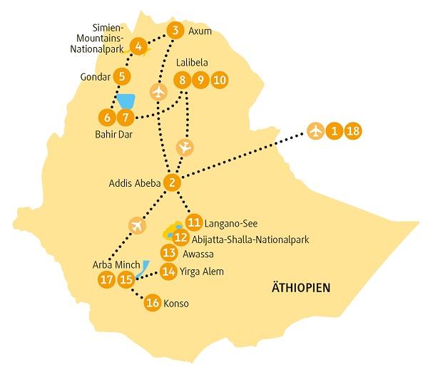 Äthiopien: Karte und Tourenverlauf Königreiche Gondar, Axum und Lalibela