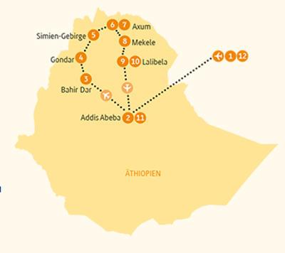 Äthiopien: Karte und Tourenverlauf Kulturreise in Äthiopiens Norden