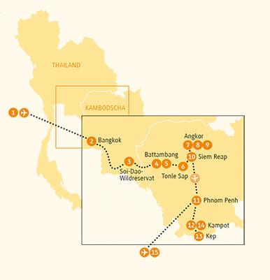 Kambodscha: Karte und Tourenverlauf Tempel und Buddhas entlang des Mekong