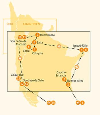 Chile: Karte und Tourenverlauf Rundreise Argentinien & Chile