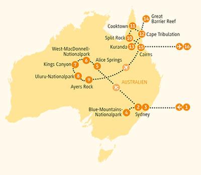 Australien: Karte und Tourenverlauf Ayers Rock, Great Barrier Reef, Sydney und Cairns