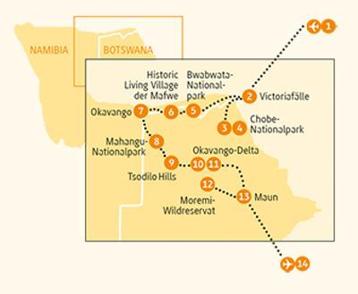 Botswana: Karte und Tourenverlauf Rund um das Okavango-Delta