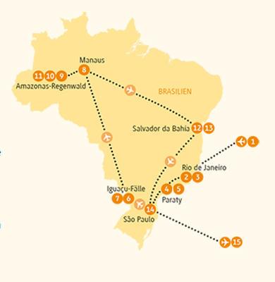 Brasilien: Karte und Tourenverlauf Rundreise zu den Höhepunkten