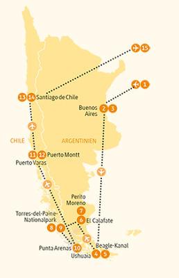 Argentinien: Karte und Tourenverlauf Feuerland – Patagonien – Torres del Paine