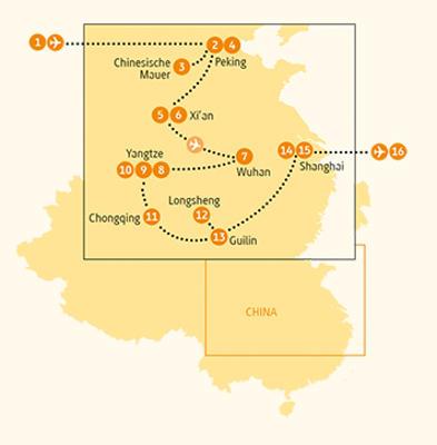 China: Karte und Tourenverlauf Kultur, Natur und Gartenkunst Chinas
