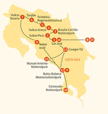 Costa Rica: Karte und Tourenverlauf Individualreise – Manuel Antonio, Tenorio und Corcovado