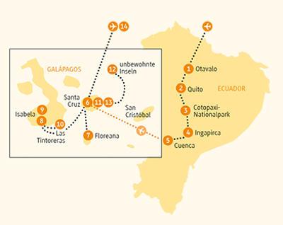 Ecuador: Karte und Tourenverlauf Naturstudienreise durch Galapagos