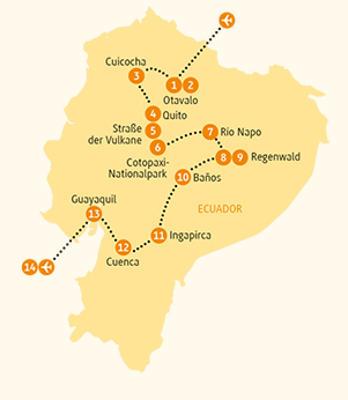 Ecuador: Karte und Tourenverlauf Rundreise und Galapagos
