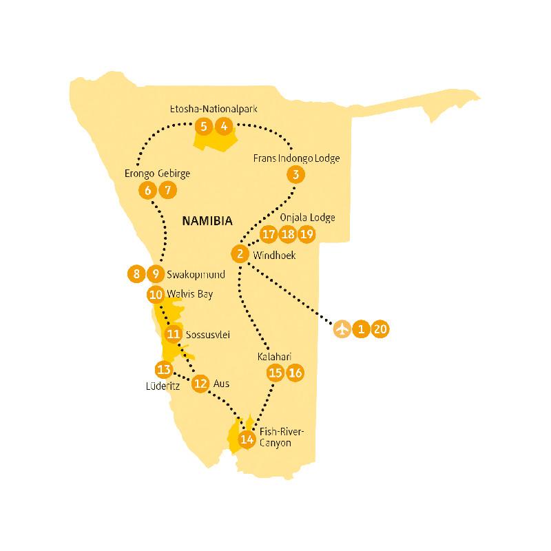 Namibia: Karte und Tourenverlauf Etosha – Fish River Canyon