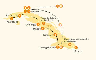 Kuba: Karte und Tourenverlauf Natur- und Kulturrundreise vom Westen in den Osten der Insel