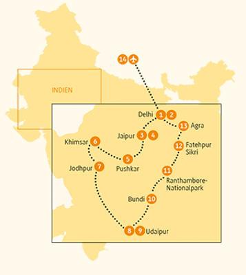 Indien: Karte und Tourenverlauf Kulturrundreise