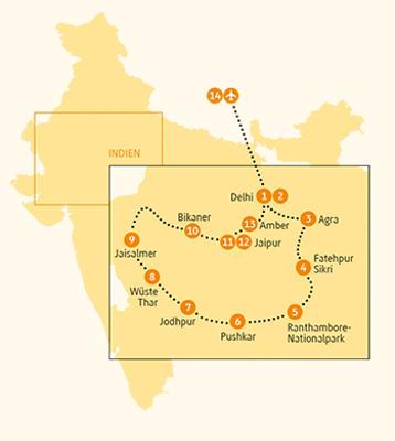 Indien: Karte und Tourenverlauf Rundreise Wüste Thar – Pushkar – Agra
