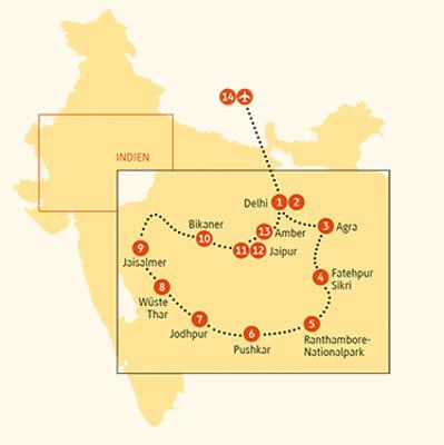 Indien: Karte und Tourenverlauf Individualreise – Farbenfrohes Rajasthan