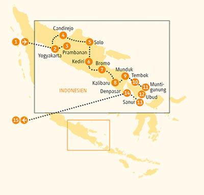 Malaysia: Karte und Tourenverlauf Rundreise Bali, Java und Traumstrände