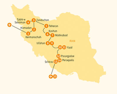 Ägypten: Karte und Tourenverlauf Kulturreise durch das alte Persien