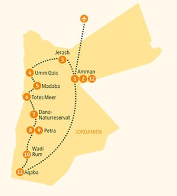 Jordanien: Karte und Tourenverlauf Kulturreise im Land der Nabatäer