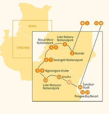 Kenia: Karte und Tourenverlauf Safari, Massai Mara und Indischer Ozean