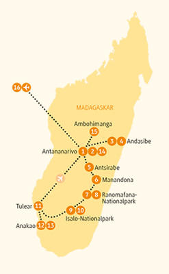 Madagaskar: Karte und Tourenverlauf Naturreservate und Volksgruppen der Insel