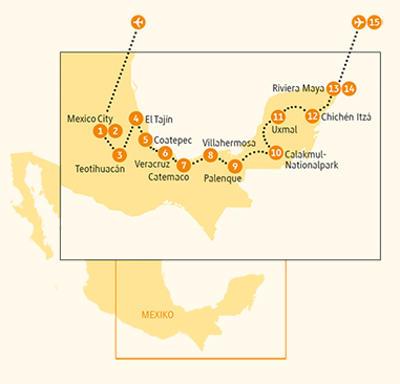 Mexiko: Karte und Tourenverlauf Entdeckungsreise zum Weltkulturerbe alter Völker