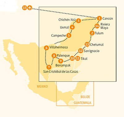 Mexiko: Karte und Tourenverlauf Auf den Spuren der Mayas