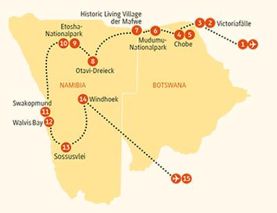 Botswana: Karte und Tourenverlauf Individualreise Etosha – Viktoriafälle