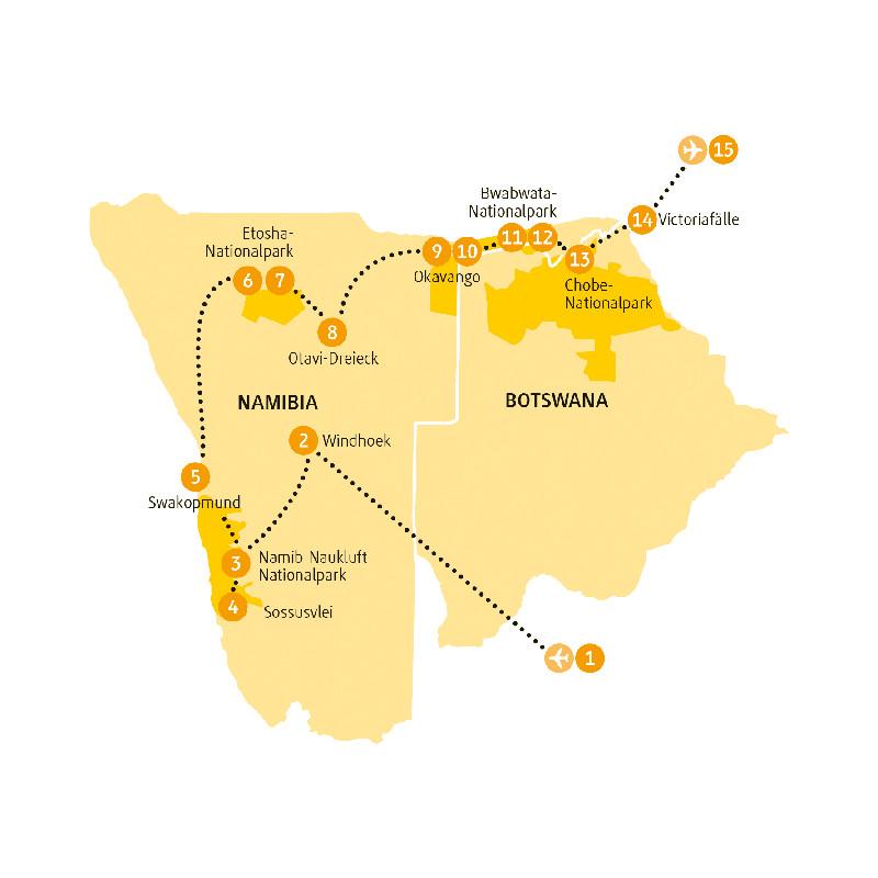Namibia: Karte und Tourenverlauf Etosha – Viktoriafälle