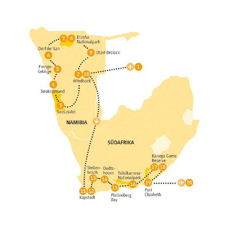 Südafrika: Karte und Tourenverlauf Etosha – Gardenroute
