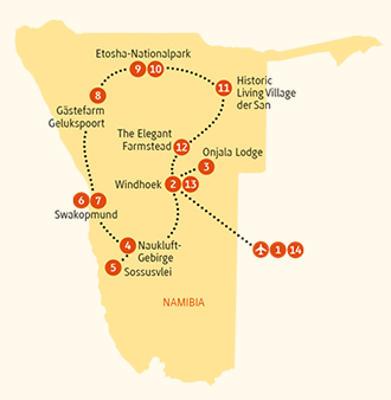 Namibia: Karte und Tourenverlauf Individualreise Sossusvlei – Etosha