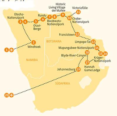 Mosambik: Karte und Tourenverlauf Etosha, Chobe, Krüger und Viktoria Fälle