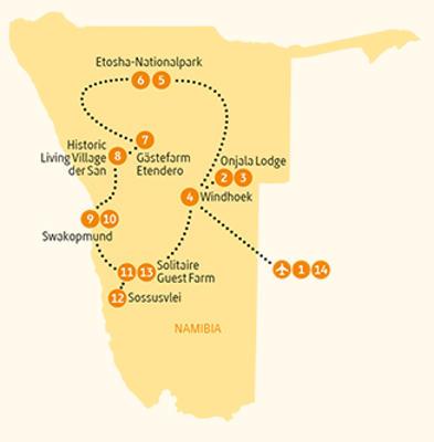 Namibia: Karte und Tourenverlauf Vielfalt und Entspannung