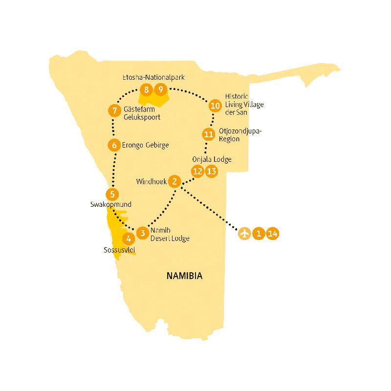 Namibia: Karte und Tourenverlauf Rundreise Sossusvlei – Etosha