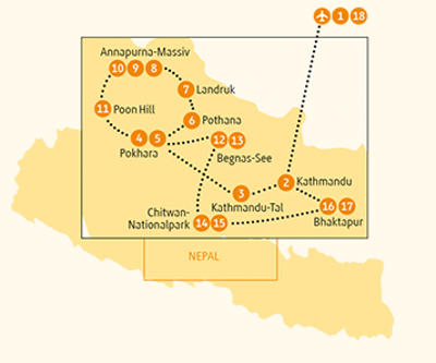 Nepal: Karte und Tourenverlauf Annapurna – Kathmandu-Königstal