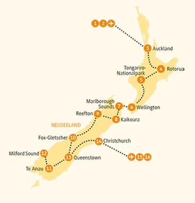 Neuseeland: Karte und Tourenverlauf Im Land der Vulkane und Fjorde