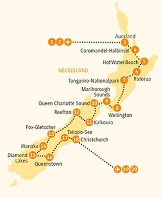 Neuseeland: Karte und Tourenverlauf Rundreise zu den Highlights beider Inseln