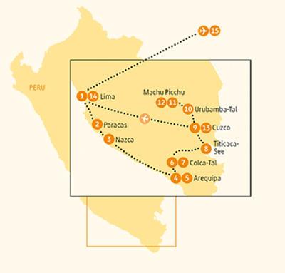 Argentinien: Karte und Tourenverlauf Machu Picchu Reise