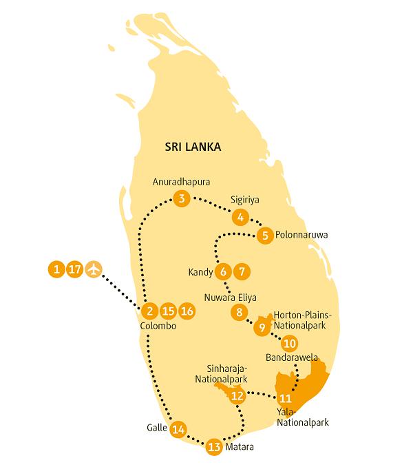Indien: Karte und Tourenverlauf Rundreise Nationalparks und Kulturdenkmäler