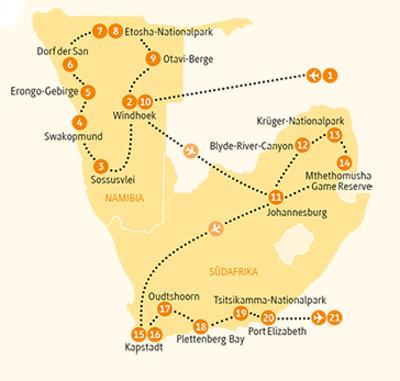 Südafrika: Karte und Tourenverlauf Etosha – Krüger – Gardenroute