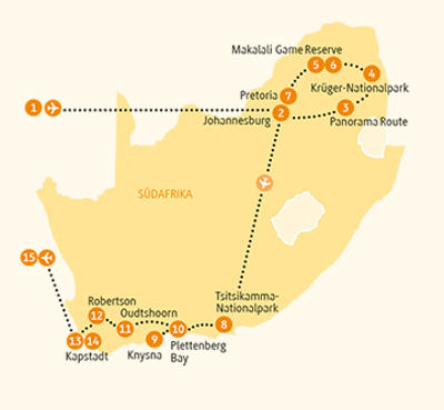 Südafrika: Karte und Tourenverlauf Südafrika kompakt – Höhepunkte